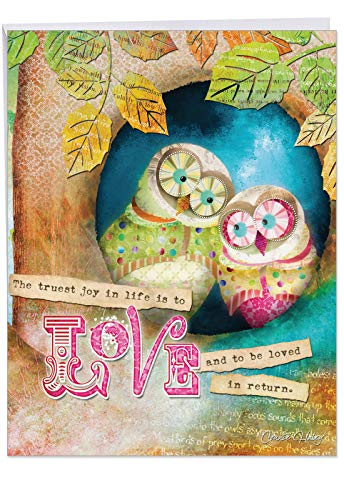 J2952CWDG Jumbo Wedding Card: FOREST FRIENDS: 10 Assorted Greeting Cards, Featuring Two Colorful Owls Snuggling in a Tree and an Inspirational Saying, With Envelope (Large Size: 8.5