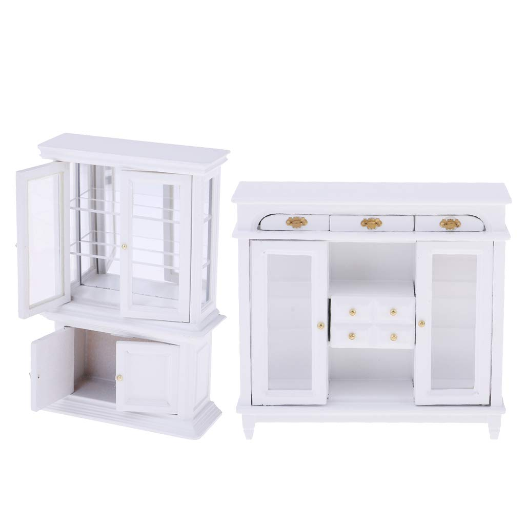 Amazon.com: 2 Pack Dollhouse Wooden Drawer Display Cabinet ...