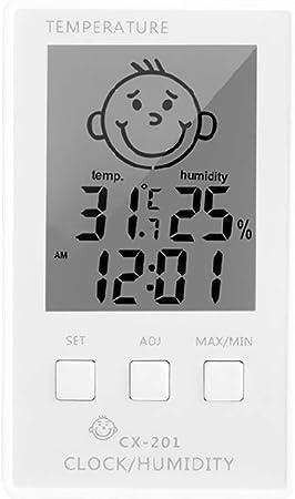 PokYr25eb Termómetro Termómetro de Bebé Cara LCD Termómetro Digital Higrómetro Temperatura Humedad Medidor Reloj para Casa, Oficina, Invernadero, Hogar Verde blanco: Amazon.es: Hogar