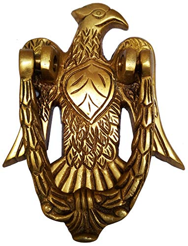 Purpledip Brass Door Knocker: Antique Eagle Hawk Gate Handle (11593)