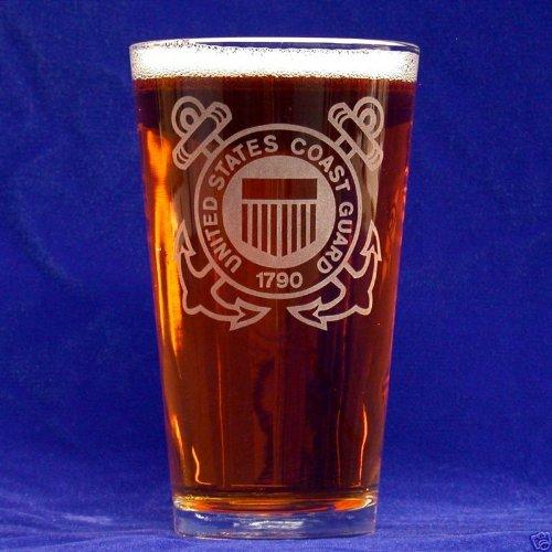 Custom Etched US Coast Guard Emblem on 16 Oz Pint Glasses Set of 4