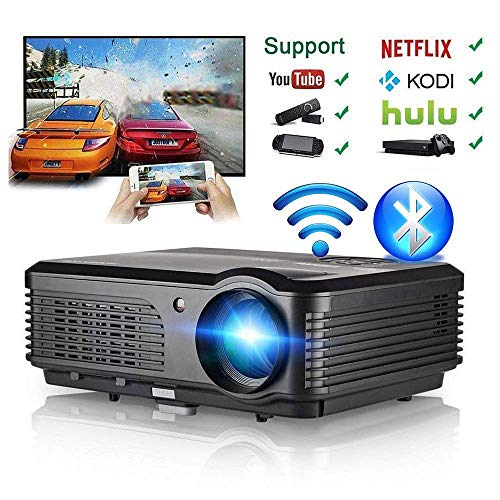 Projector Bluetooth WiFi Android 4400 Lumen LCD LED Multimedia Video Projector Home Theater Support HD 1080P Airplay HDMI USB RCA VGA AV for Gaming Fire TV Stick Smartphone DVD Laptop Outdoor Movie (Kodi On Usb Flash Drive For Smart Tv)
