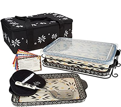 "Temp-tations 13""x9"" 4 Quart Baker, Insulated Tote, 2 Stoneware Trays(Lid-It), Plastic Cover, Utensil, 2 Mitts"