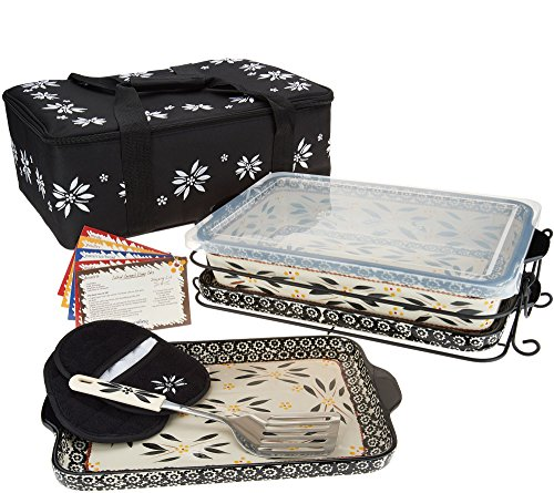 Temp-tations 13 inchx9 inch 4 Quart Baker, Insulated Tote, 2 Stoneware Trays(Lid-It), Plastic Cover, Utensil, 2 Mitts (Old World Black)