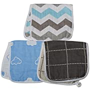 """ARNZION Burp Cloths Large 20"""" by 10"""" 6 Layers Muslin Versatile Baby Boys Washcloths Nursing Cloths for Babies 100% Cotton 3 Pack"""