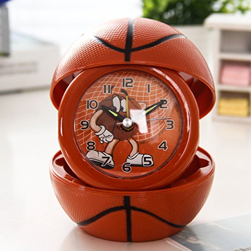 Foxtop 4-inch Personalized Home Cartoon Foldable Portable Small Alarm Desk Shelf Ball Shape Clock - Basketball (Golf Alarm Clock)