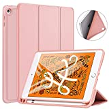 Ztotop Case for iPad Mini 5 2019 with Pencil Holder, Lightweight Soft TPU Back and Trifold Stand Smart Cover with Auto Sleep/Wake,Protective for iPad Mini 5th Generation 7.9' 2019 Release,Rose Gold