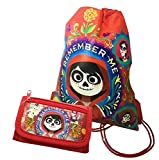 Disney Licensed COCO Sling Drawstring backpack Tote Bag w/ Small Wallet (Red)