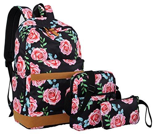 Bookbag Girls School Backpack Cute Floral Schoolbag Laptop Shoulder Bag Daypack for Teen Girls Boys (Rose Floral Black)