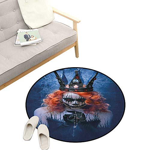 Queen Round Rug ,Queen of Death Scary Body Art Halloween Evil Face Bizarre Make Up Zombie, Flannel Microfiber Non-Slip Soft Absorbent 47