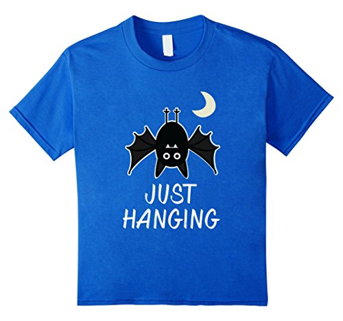 [Kids Just Hanging Black Bat Moon Halloween Cute Funny Pun T-Shirt 8 Royal Blue] (Father And Daughter Halloween Costume Ideas)