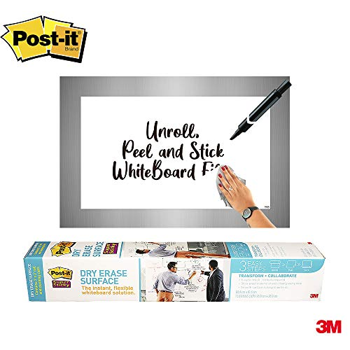 Post-it Dry Erase Whiteboard Film Surface for Walls, Doors, Tables, Chalkboards, Whiteboards, and More, Removable, Stain-Proof, Easy Installation, 3 ft x 2 ft Roll (DEF3X2A)