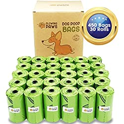 Glowing Paws Biodegradable Dog Poop Bags - 450 Eco Friendly, Unscented Dog Waste Bags Refills, Totally Leak-Proof and Extra Thick, Conceal Sight and Smell of Poop.