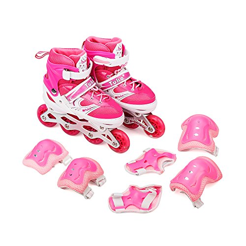 Tuko Adjustable Inline Skates for Girls with Protective Pads (Little kid 12M/13M/1M)