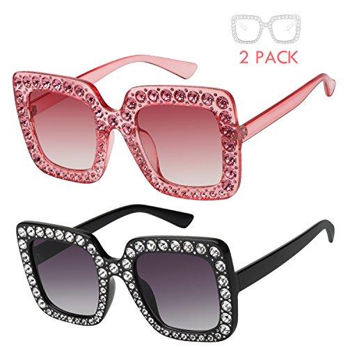 ROYAL GIRL Sunglasses Women Oversized Square Crystal Brand Designer Shades (Black-Pink 2 Pack, - Crystal Oversized