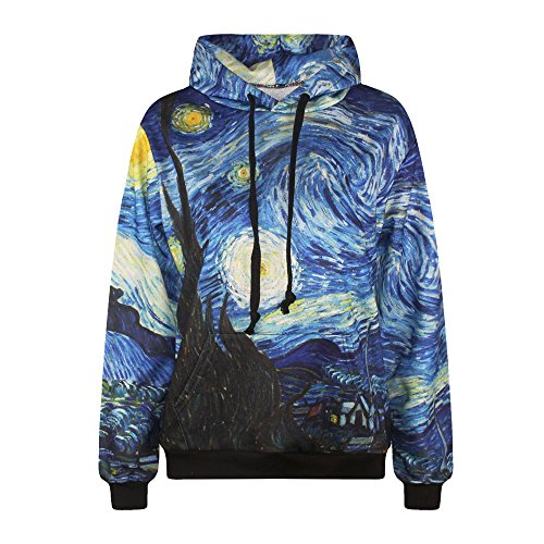 ColorFino Digital Print Hip Hop Pullover Hoodies Plus Size Sweatshirt,Starry Night,Large