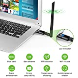 1200Mbps Wireless USB Wifi Adapter USB 3.0 Wifi Dongle with 5dBi Antenna for PC/Desktop/Laptop/Tablet,Dual Band 2.4G/5.8G 802.11ac,Support Windows 10/8/8.1/7/Vista/XP, Mac OS