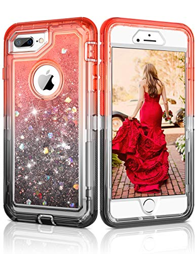 CHEERINGARY Case for iPhone 8 Plus Case, iPhone 7 Plus Case Flowing Quicksand Liquid Glitter Heavy Duty Shockproof Gradient Non-Slip Case for iPhone 6S Plus/6 Plus/7 Plus/8 Plus 5.5 Inch (Black Red)