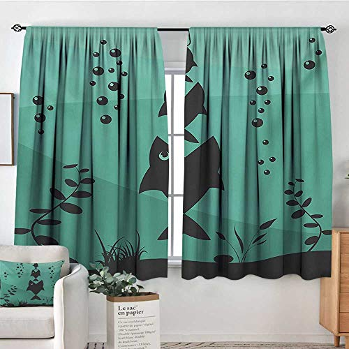 Elliot Dorothy Insulating Blackout Curtains Fishing,Big Fish Eats Little Small in Bubbles Underwater Ocean Symbolic Icons Food Theme,Teal Grey,Drapes Thermal Insulated Panels Home décor 42