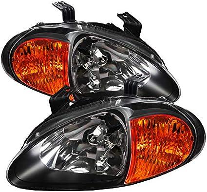 For 93-97 Honda Civic del Sol Black Headlights Head Lights Lamps Left+Right