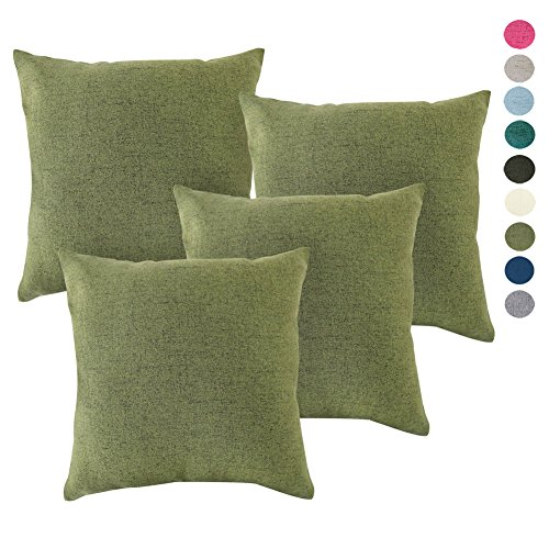 4PCS Throw Pillow Covers Coastal Cushions Fine Faux Linen Home Decorative Soft Pillow Case Covers No Pillow Insert Pillowcases Outdoor Indoor Home Decor(20 x 20 inch, (4PCS) Spinach Green) (Minimalist Outdoor Furniture)