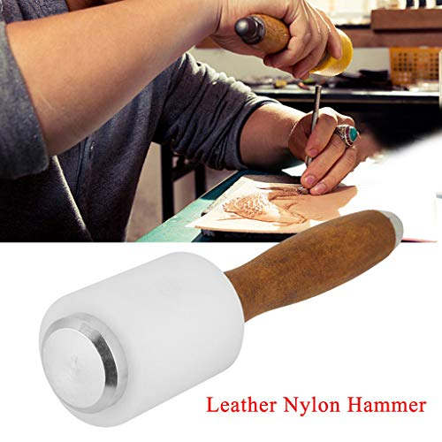 Duty Heavy Zip Gun Hammer (Maikouhai 1xLeather Carving Hammer,Leather Craft Hammer Carving Tool Nylon Handle Cowhide Mallet Stainless Steel to Carve Various Types of Leather)