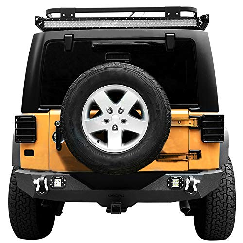 oEdRo Wrangler JK Rear Bumper Combo Compatible for 2007-2018 Jeep Wrangler JK with 2X Square LED Lights Upgraded Textured Black Rock Crawler Off Road w/ 2″ Hitch Receivers 2 D-Rings