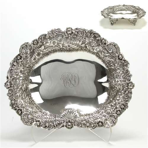 Bowl by Tiffany, Sterling, Footed Repousse Design