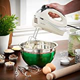VonShef Cream 250W Hand Mixer Whisk With Chrome Beater, Dough Hook, 5 Speed and Turbo Button + FREE Balloon Whisk