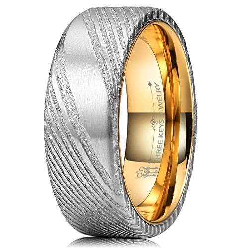 Three Keys Jewelry 8mm Damascus Steel Mens Wedding Ring Domed Wood Grain Gold Liner Damascus Steel Wedding Band Engagement Ring Size 12 Stainless Damascus Steel