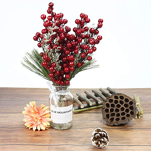 Benavvy Red Berries Artificial Fruit 20 Pack Red Berry Stems for Christmas Tree Ornament Holiday DIY Craft Home Decor
