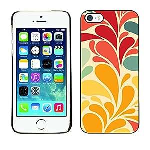 [Neutron-Star] Snap-on Series Teléfono Carcasa Funda Case Caso para iPhone 5 / 5S [Hojas de las flores del papel pintado rojo del trullo]