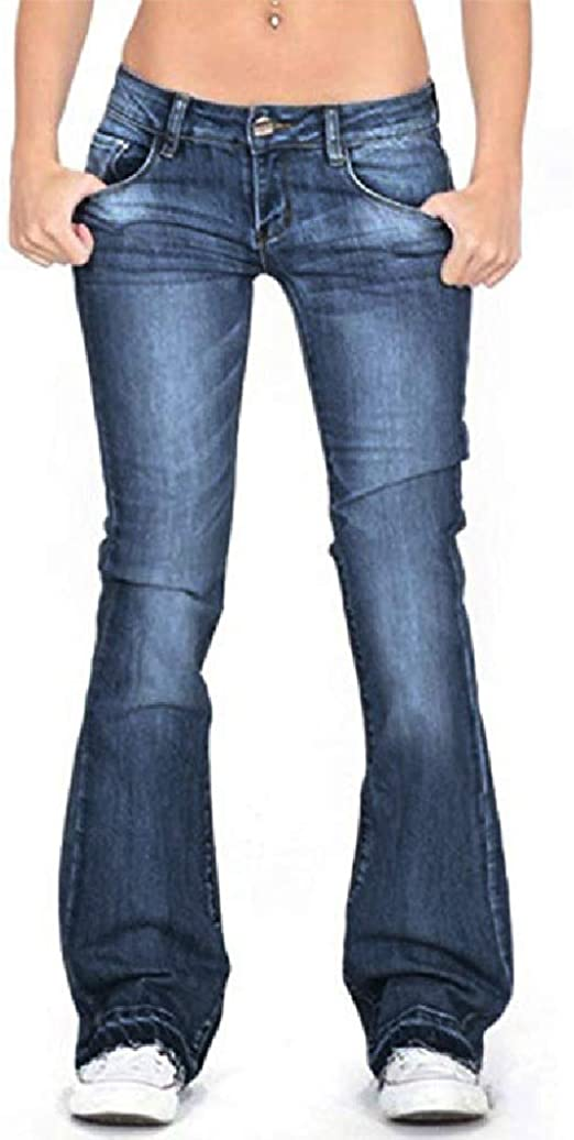 VITryst Women Mid Rise Relaxed-Fit Oversize Stretchy Fabric Bootcut Jeans