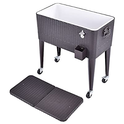 Rolling Cooler Cart Rattan Party Portable Ice Beer Beverage Chest