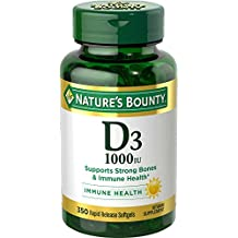 Nature's Bounty Vitamin D3, 1000 IU, 350 Softgels Vitamin D3 Supports Healthy Bones and Immune System, Promotes Calcium Absorption