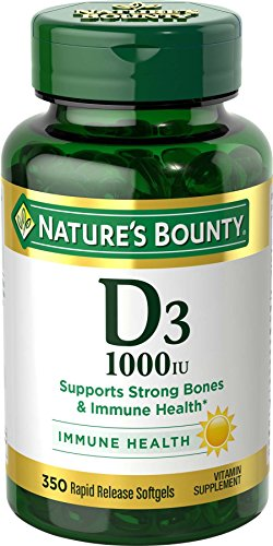 Nature's Bounty Vitamin D3 1000 IU Softgels, 350 Softgels