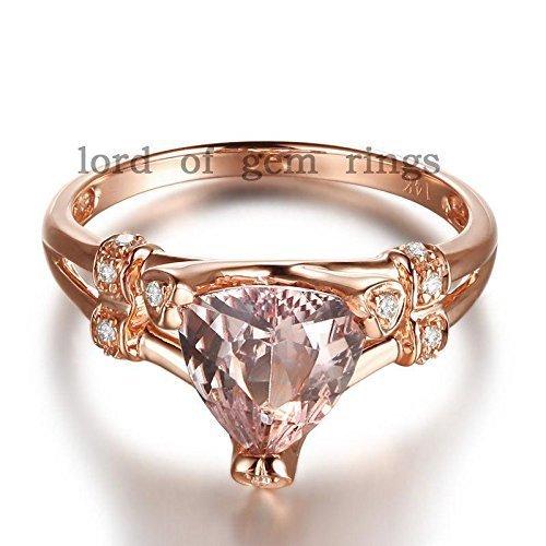 (Trillion Morganite Engagement Ring Diamond 14K Rose Gold 8mm)