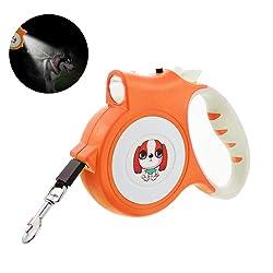 Roblue Laisse Rétractable pour Chien Laisse Enrouleur Réglable avec Lampe LED pour Chiot Petit Animaux en Plastique 5m (16cmx11x3cm, Orange)