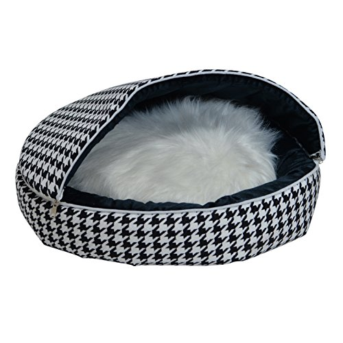 Heritage Products Pet Bed Elegance - Fits Small Dog/Large Cat, Machine Washable, Mega (Houndstooth Dog Bed)