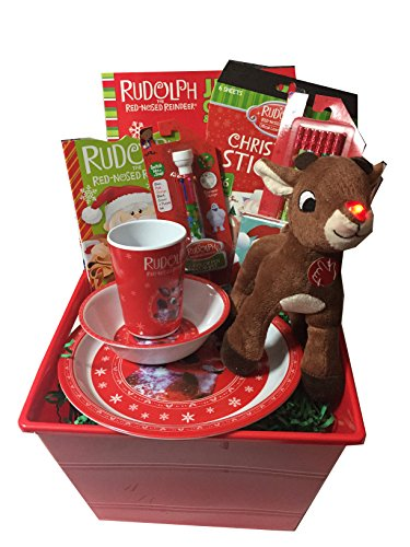 Rudolph the Red-Nosed Reindeer Holiday Gift Basket - Chocolate Christmas Countdown Advent Calendar, Plush, Plate Set, and Notebook