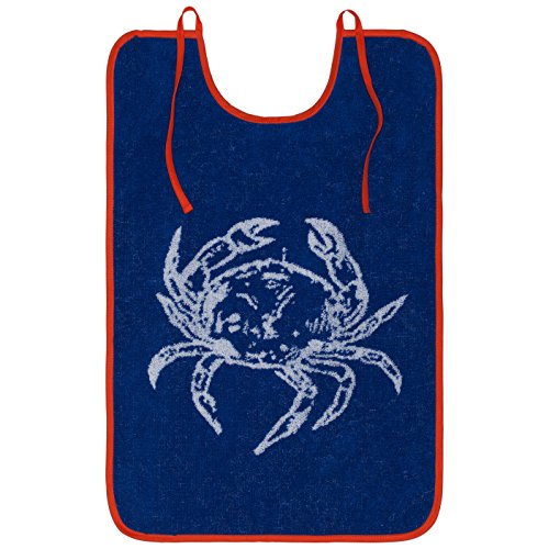 Coucke French Cotton Terry Cloth French Table Collection, Seafood Bib, 15-Inches by 24-Inches, Blue