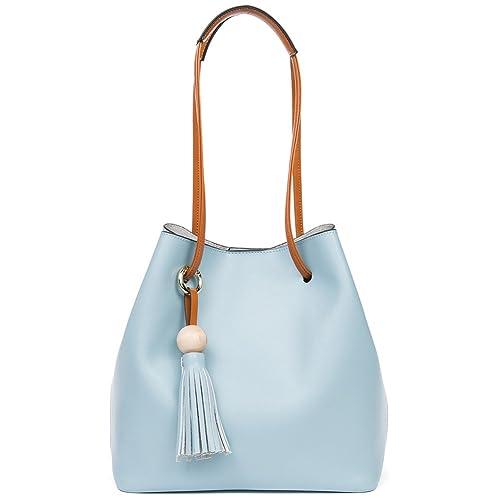 e4c10a51 NAWO Women's Split Leather Bucket Bag Designer Handbags Purses Tote  Shoulder Bags Blue