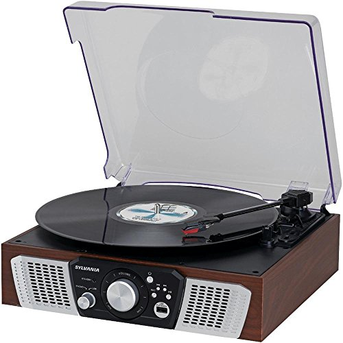 Sylvania SRC831 3-speed Turntable with Built-in Speakers, and USB encoding by Sylvania