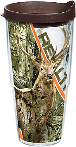 Tervis 1233139 Realtree - Camo Deer Tumbler with Wrap and Brown Lid 24oz, Clear