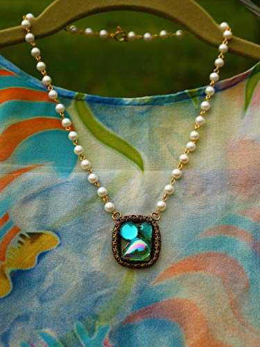 Linked Glass Beads - Antiqued gold color filigree pendant with pacific blue color glass stones faux pearl bead linked 19