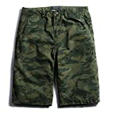 Mistere Summer New Five-Point Pants Men's Casual Camouflage Shorts Camo Elastic Cotton Overalls Shorts Men's Pants,Army Green,30