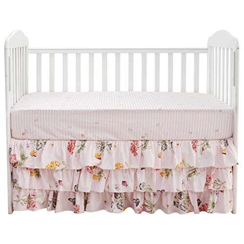 Brandream Floral Crib Sheet Pink Cotton Fitted Crib Sheet Vintage Baby Girls Crib Fitted Sheet Shabby Crib Bedding Chic Nursery Soft Breathable, Durable & Hypoallergenic Toddler Crib Mattress Sheet