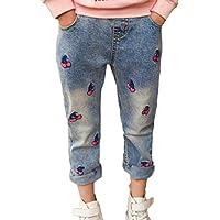 Jeans para Niñas Vaqueros Pantalones On Cintura Elástica Pantalón Largo Denim Pantalones