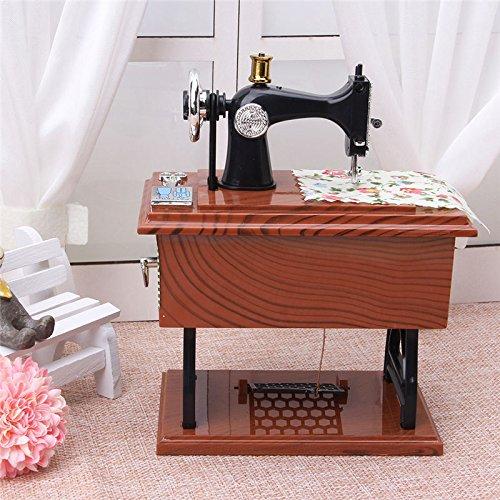 OKOKMALL US--Vintage Music Box Mini Sewing Machine Style Mechanical Birthday Gift Table Decor