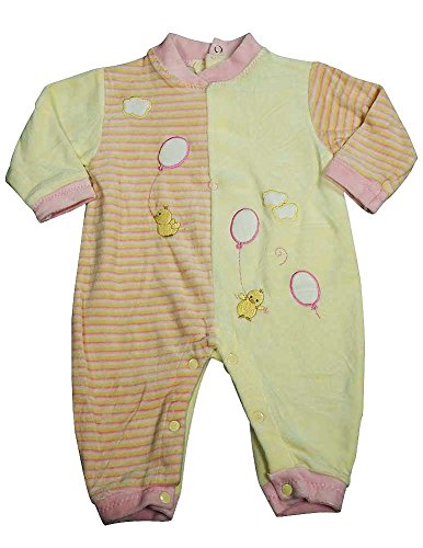 Beyond Basics Kids - Baby Girls Long Sleeved Velour Coverall, Pink, Yellow 8583-3-6Months Cotton Velour Overalls